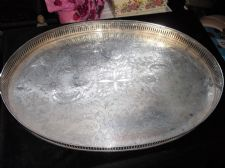 LARGE VINTAGE SHEFFIELD SILVER PLATED TRAY LATTICE GALLERY CHASED DESIGN 17.5""